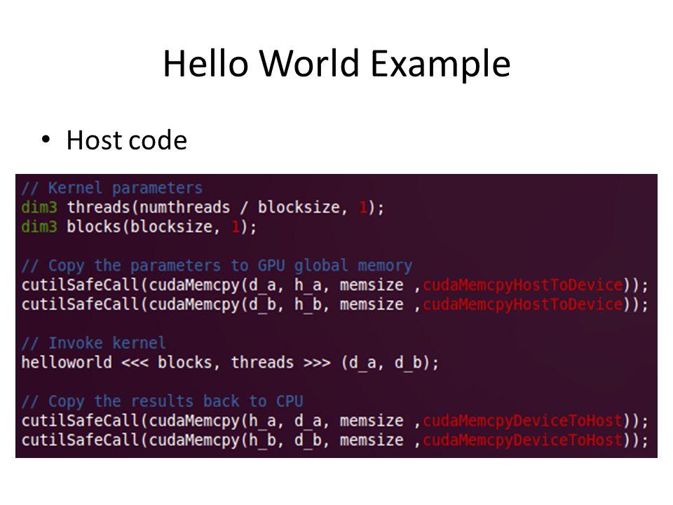 Hello World Example Kernel code