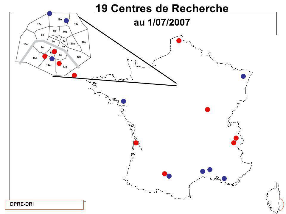 DPRE-DRI 20 19 Centres de Recherche au 1/07/2007
