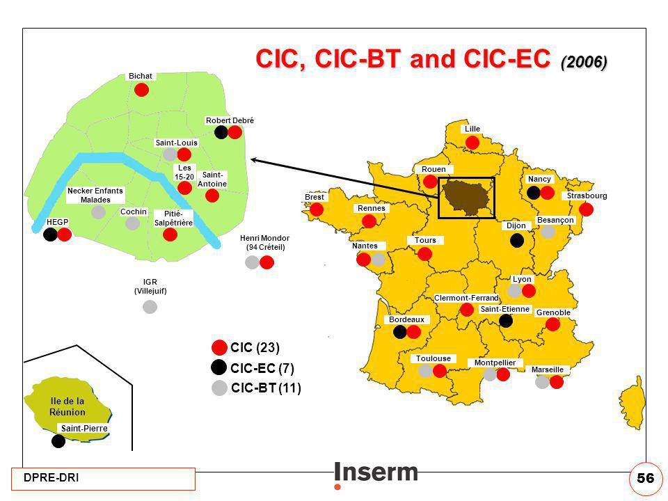 DPRE-DRI 56 Bichat Henri Mondor (94 Créteil) Pitié- Salpêtrière Necker Enfants Malades Robert Debré Saint-Louis Saint- Antoine HEGP Les 15-20 Cochin I