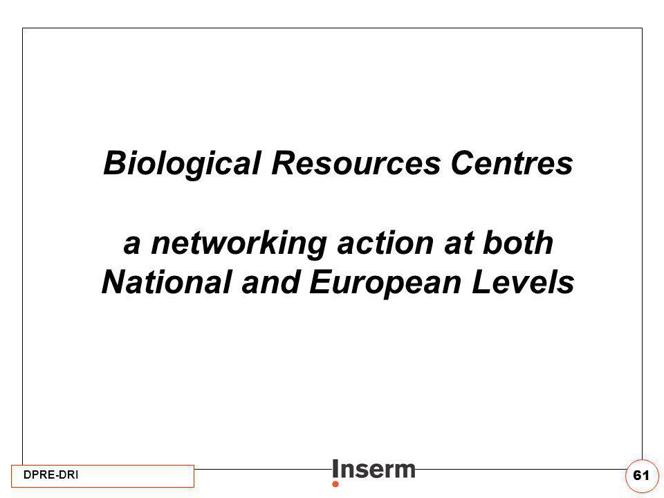 DPRE-DRI 61 Biological Resources Centres a networking action at both National and European Levels