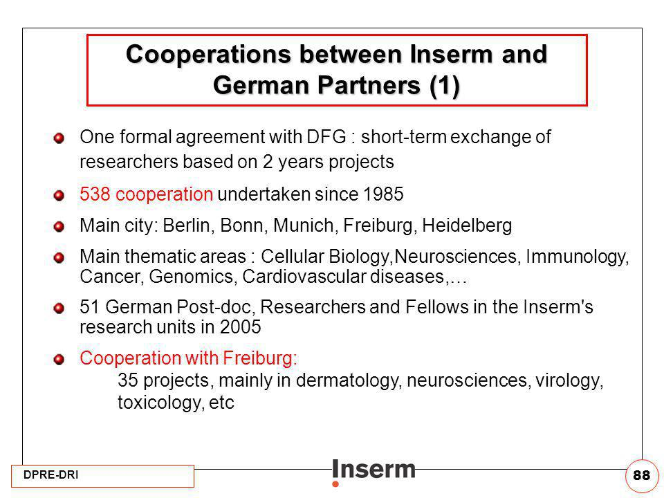 DPRE-DRI 88 Cooperations between Inserm and German Partners (1) One formal agreement with DFG : short-term exchange of researchers based on 2 years pr