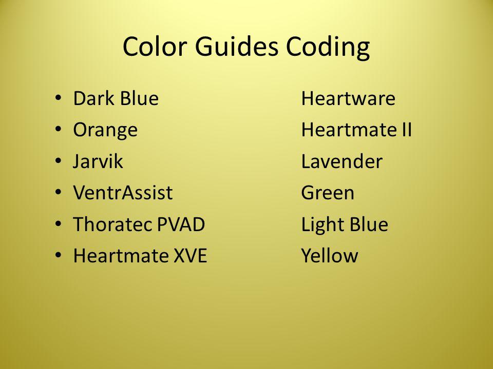 Color Guides Coding Dark BlueHeartware OrangeHeartmate II JarvikLavender VentrAssistGreen Thoratec PVADLight Blue Heartmate XVEYellow