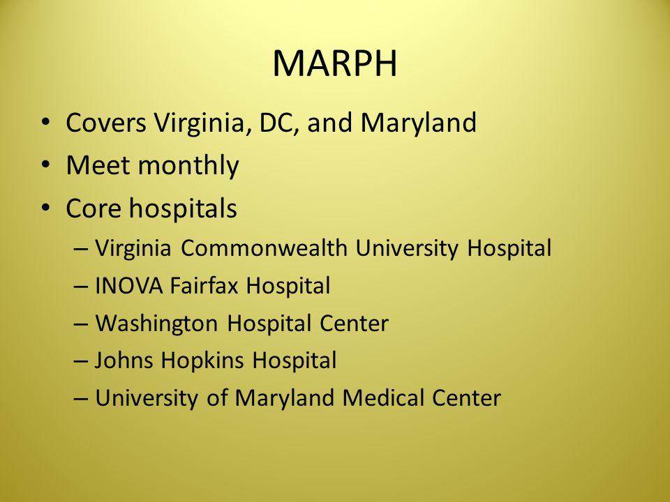 MARPH Covers Virginia, DC, and Maryland Meet monthly Core hospitals – Virginia Commonwealth University Hospital – INOVA Fairfax Hospital – Washington