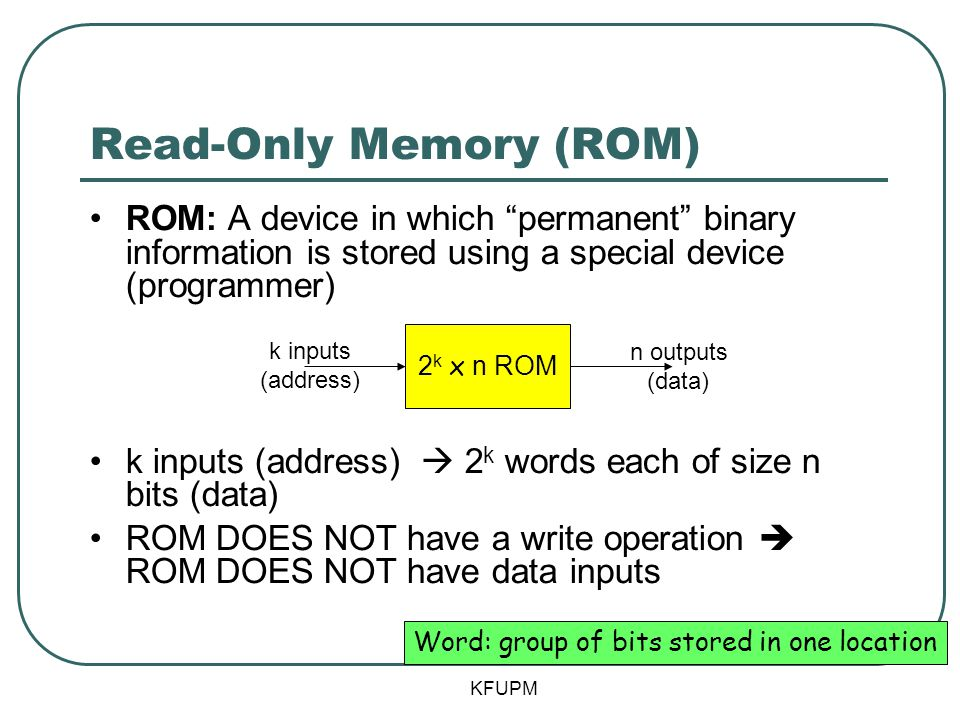 Read-Only Memory (ROM) ROM: A device in which permanent binary information is stored using a special device (programmer) k inputs (address) 2 k words each of size n bits (data) ROM DOES NOT have a write operation ROM DOES NOT have data inputs 2 k x n ROM k inputs (address) n outputs (data) Word: group of bits stored in one location KFUPM
