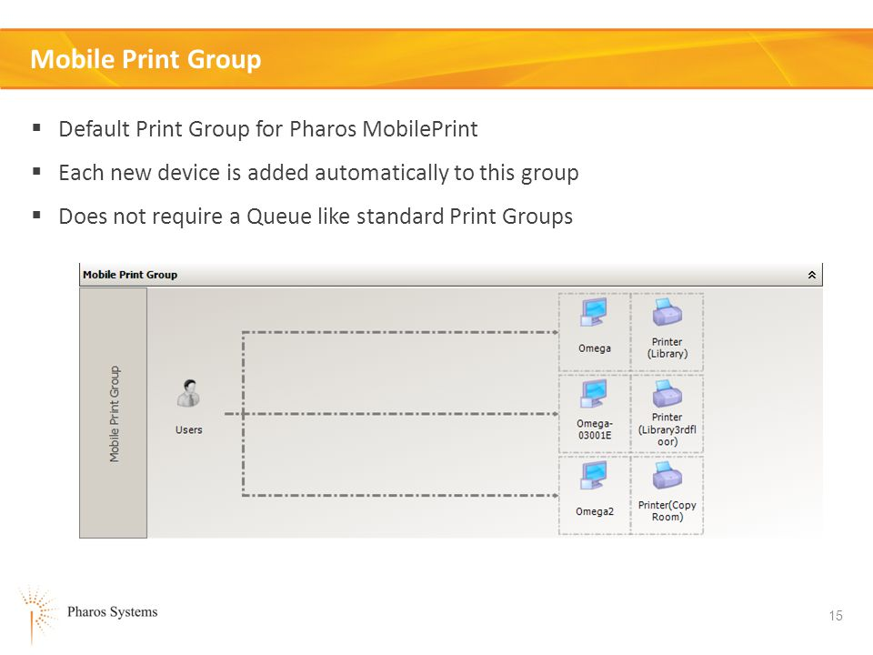 15 Mobile Print Group Default Print Group for Pharos MobilePrint Each new device is added automatically to this group Does not require a Queue like standard Print Groups