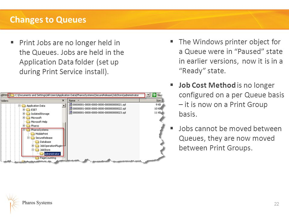 22 Changes to Queues Print Jobs are no longer held in the Queues.