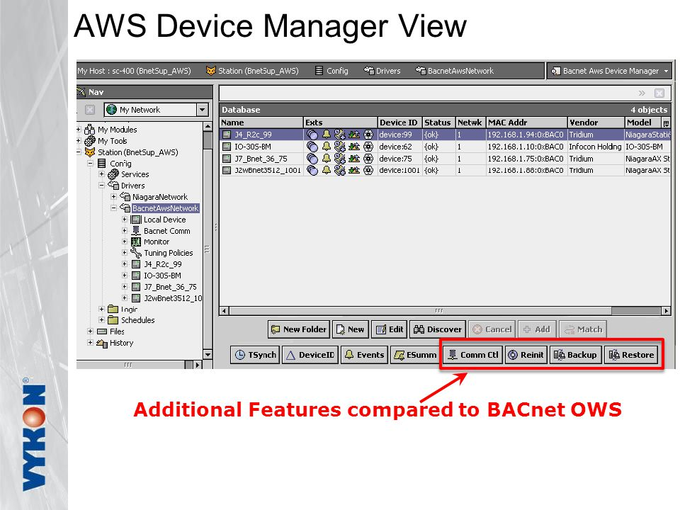 AWS Device Manager View Additional Features compared to BACnet OWS