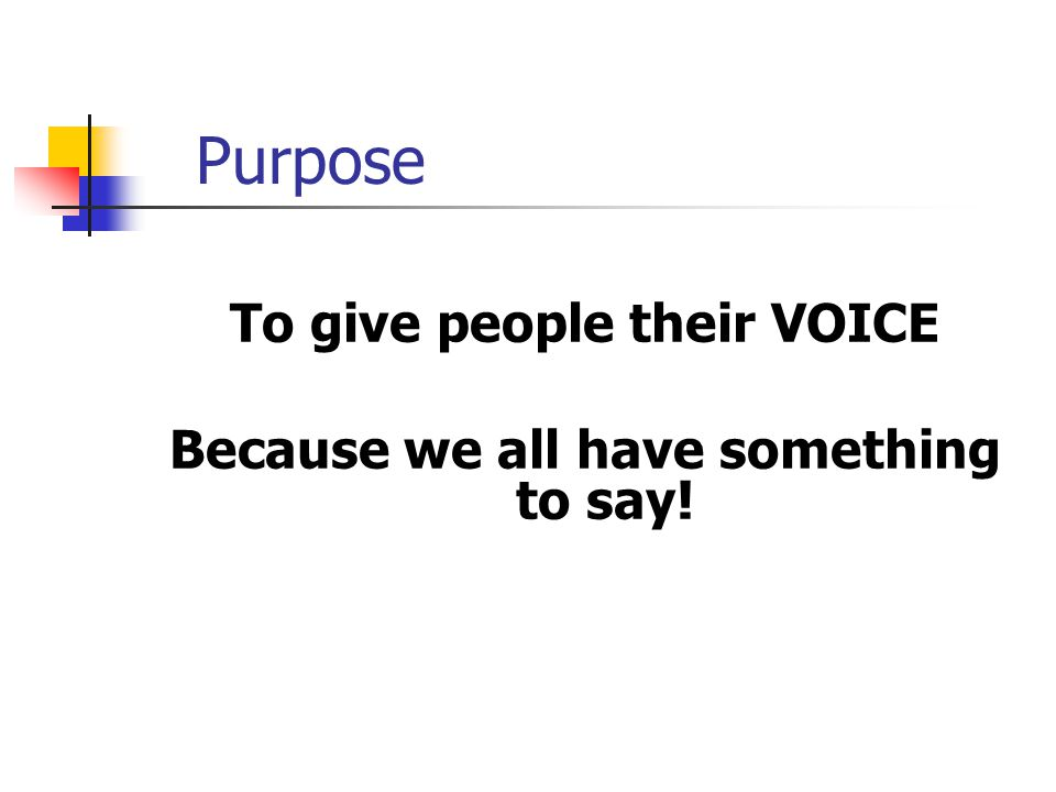 Purpose To give people their VOICE Because we all have something to say!