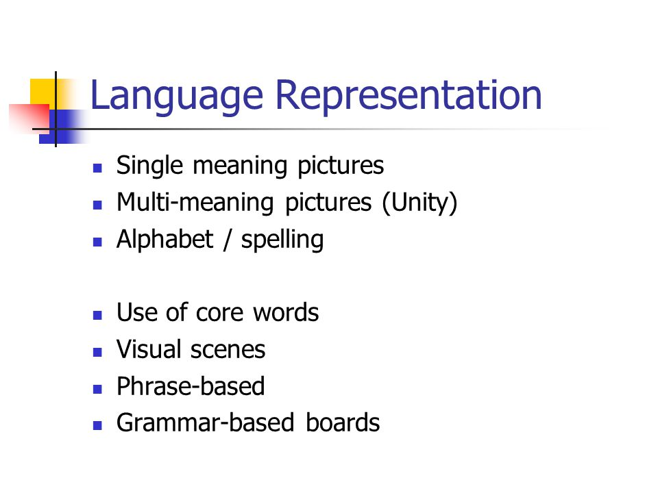 Language Representation Single meaning pictures Multi-meaning pictures (Unity) Alphabet / spelling Use of core words Visual scenes Phrase-based Grammar-based boards