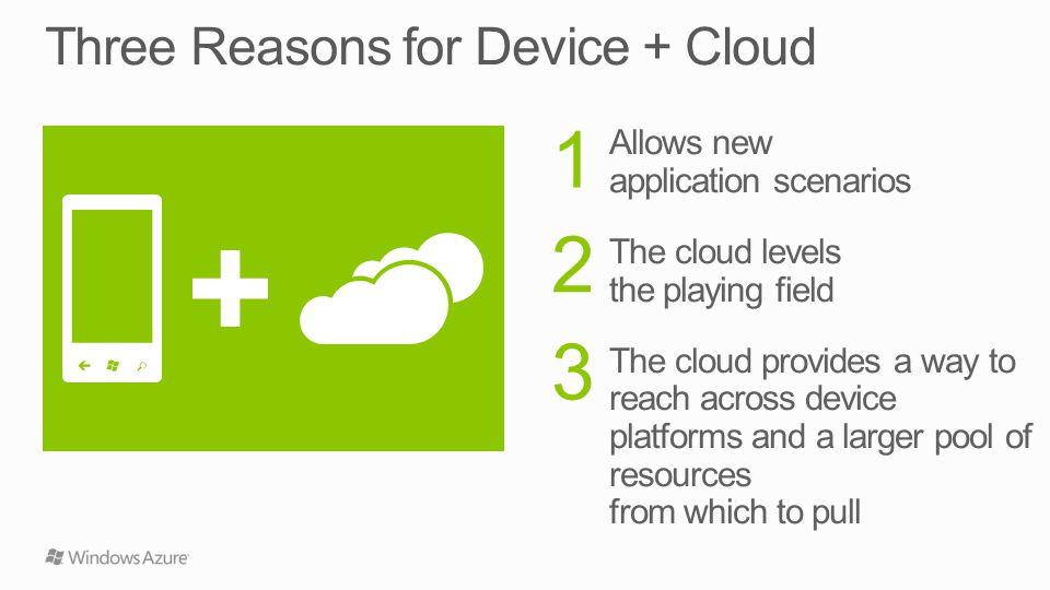 Allows new application scenarios The cloud levels the playing field The cloud provides a way to reach across device platforms and a larger pool of resources from which to pull 1 2 3