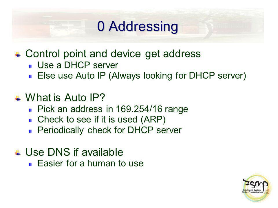 0 Addressing Control point and device get address Use a DHCP server Else use Auto IP (Always looking for DHCP server) What is Auto IP.