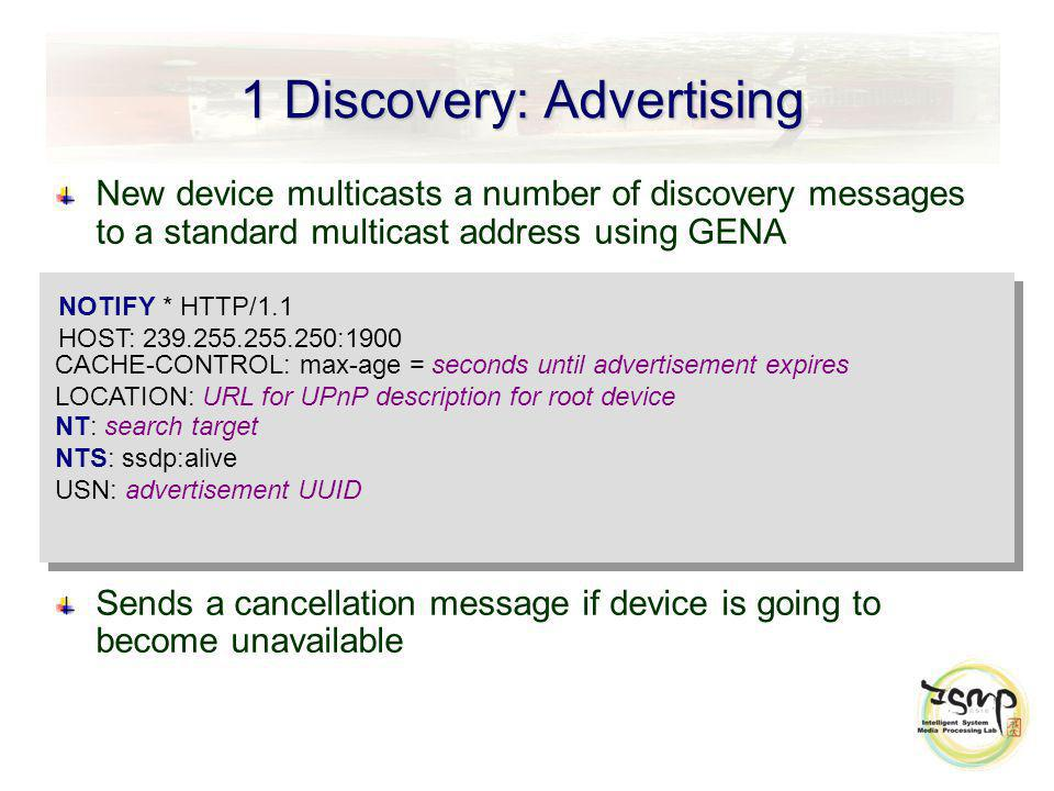 1 Discovery: Advertising New device multicasts a number of discovery messages to a standard multicast address using GENA Sends a cancellation message if device is going to become unavailable NOTIFY * HTTP/1.1 HOST: 239.255.255.250:1900 CACHE-CONTROL: max-age = seconds until advertisement expires LOCATION: URL for UPnP description for root device NT: search target NTS: ssdp:alive USN: advertisement UUID