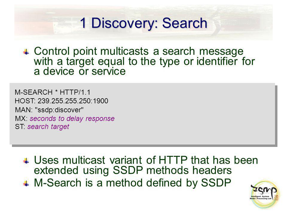 1 Discovery: Search Control point multicasts a search message with a target equal to the type or identifier for a device or service Uses multicast var
