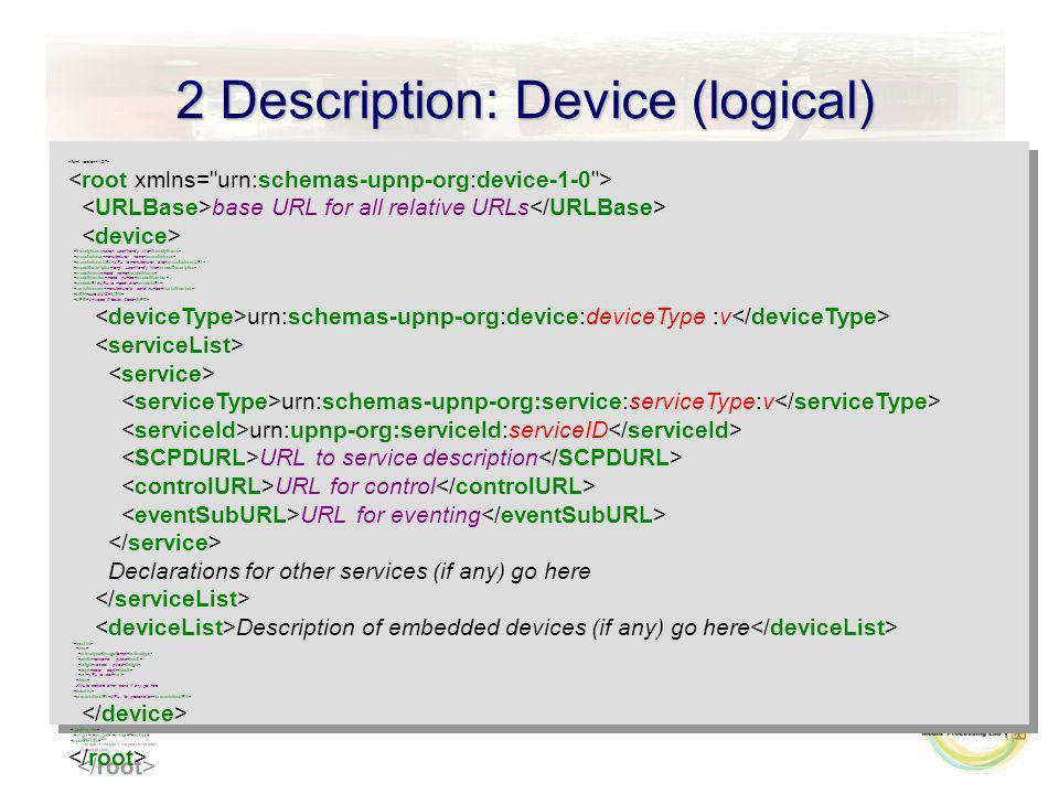 2 Description: Device (logical) base URL for all relative URLs short user-friendly title manufacturer name URL to manufacturer site long user-friendly
