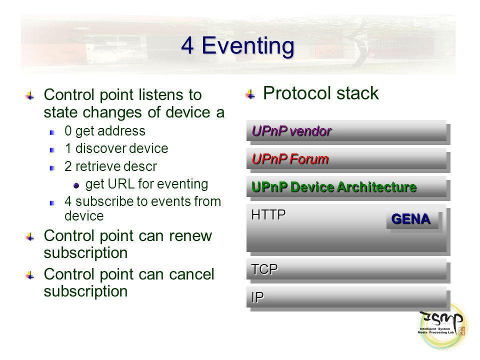 4 Eventing Control point listens to state changes of device a 0 get address 1 discover device 2 retrieve descr get URL for eventing 4 subscribe to events from device Control point can renew subscription Control point can cancel subscription Protocol stack UPnP vendor UPnP Forum UPnP Device Architecture IPIP HTTPHTTP GENAGENA TCPTCP