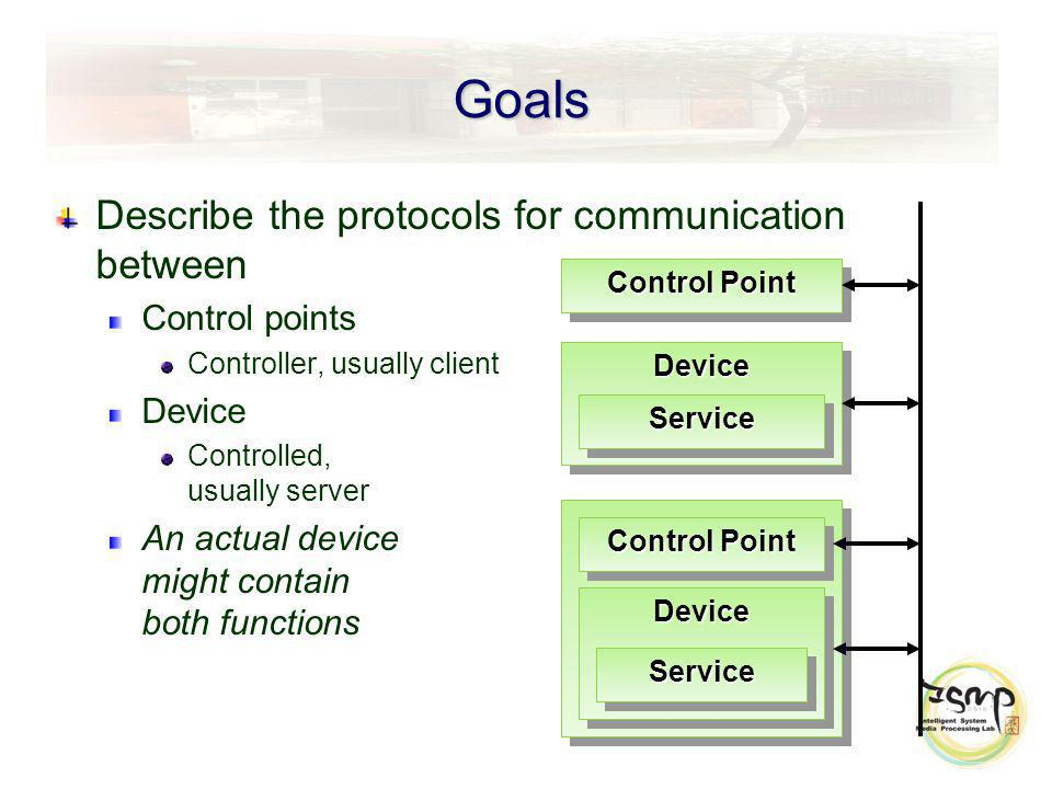 Goals Describe the protocols for communication between Control points Controller, usually client Device Controlled, usually server An actual device might contain both functions DeviceDevice ServiceService Control Point DeviceDevice ServiceService