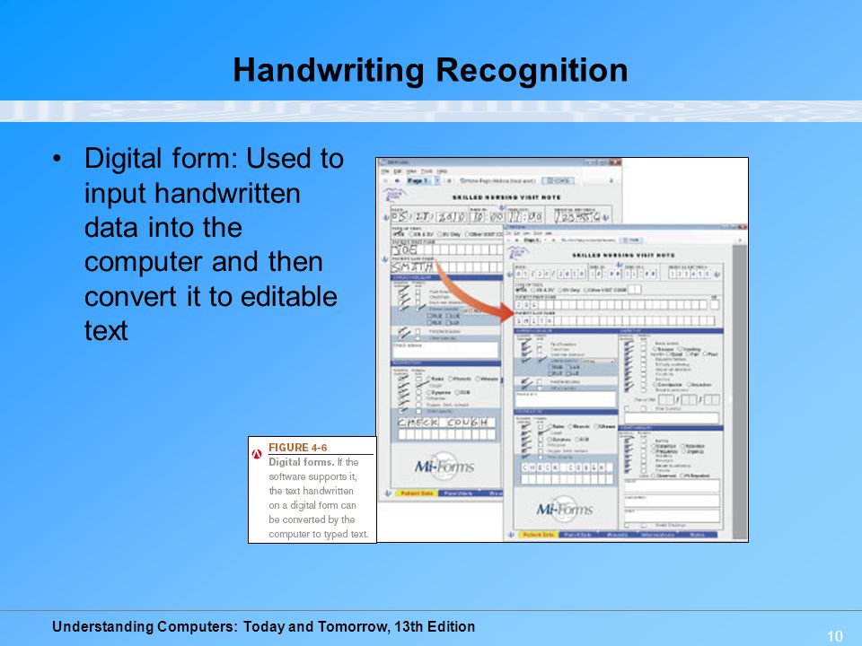 Understanding Computers: Today and Tomorrow, 13th Edition 10 Handwriting Recognition Digital form: Used to input handwritten data into the computer an