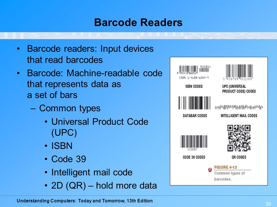 Understanding Computers: Today and Tomorrow, 13th Edition 20 Barcode Readers Barcode readers: Input devices that read barcodes Barcode: Machine-readab