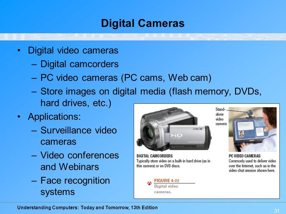 Understanding Computers: Today and Tomorrow, 13th Edition Digital Cameras Digital video cameras –Digital camcorders –PC video cameras (PC cams, Web ca