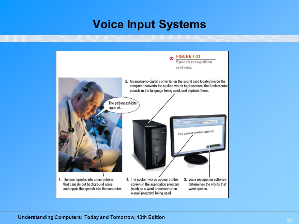 Understanding Computers: Today and Tomorrow, 13th Edition 33 Voice Input Systems