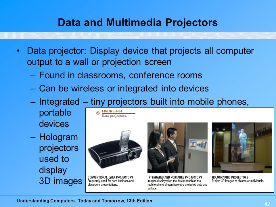 Understanding Computers: Today and Tomorrow, 13th Edition 42 Data and Multimedia Projectors Data projector: Display device that projects all computer