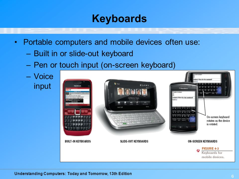 Understanding Computers: Today and Tomorrow, 13th Edition 6 Keyboards Portable computers and mobile devices often use: –Built in or slide-out keyboard