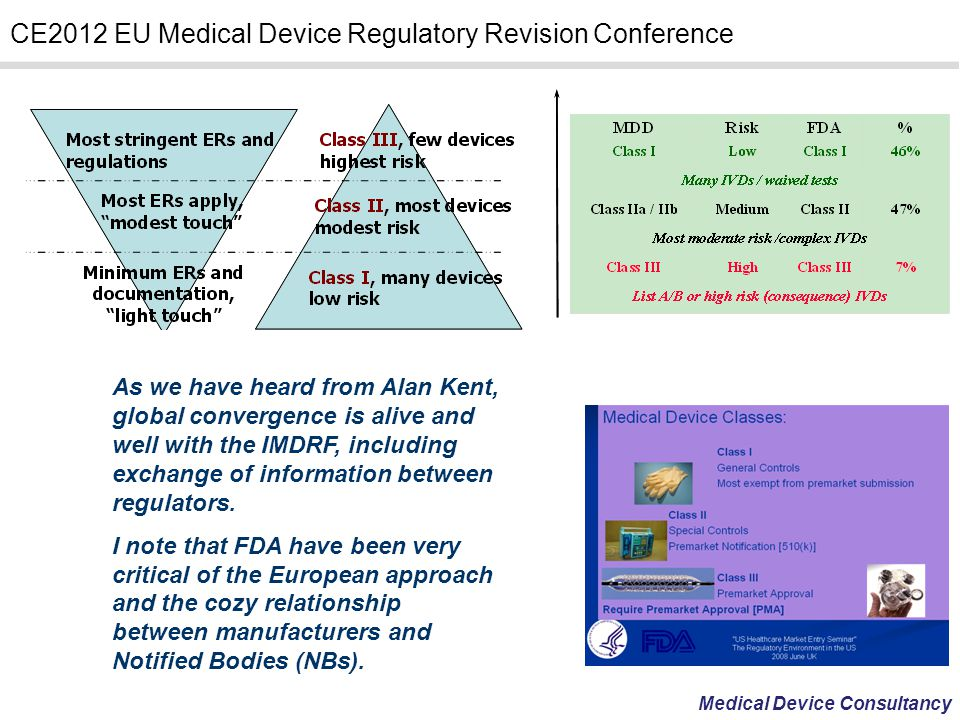 Medical Device Consultancy CE2012 EU Medical Device Regulatory Revision Conference As we have heard from Alan Kent, global convergence is alive and we