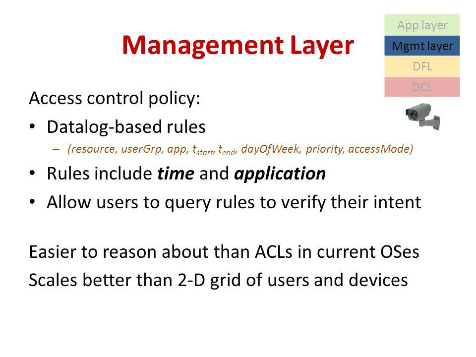 Management Layer Access control policy: Datalog-based rules – (resource, userGrp, app, t start, t end, dayOfWeek, priority, accessMode) Rules include time and application Allow users to query rules to verify their intent Easier to reason about than ACLs in current OSes Scales better than 2-D grid of users and devices App layer Mgmt layer DFL DCL