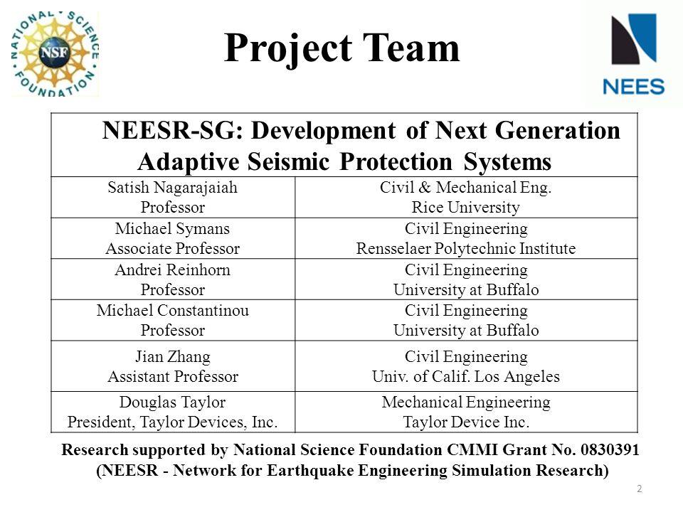 NEESR-SG: Development of Next Generation Adaptive Seismic Protection Systems Satish Nagarajaiah Professor Civil & Mechanical Eng. Rice University Mich