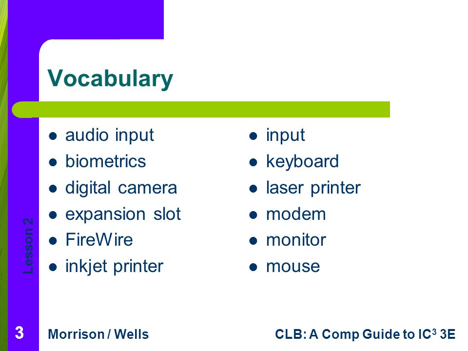 Lesson 2 Morrison / WellsCLB: A Comp Guide to IC 3 3E 444 Vocabulary (continued) output plug-and-play pointing device port printer scanner trackball Universal Serial Bus (USB)