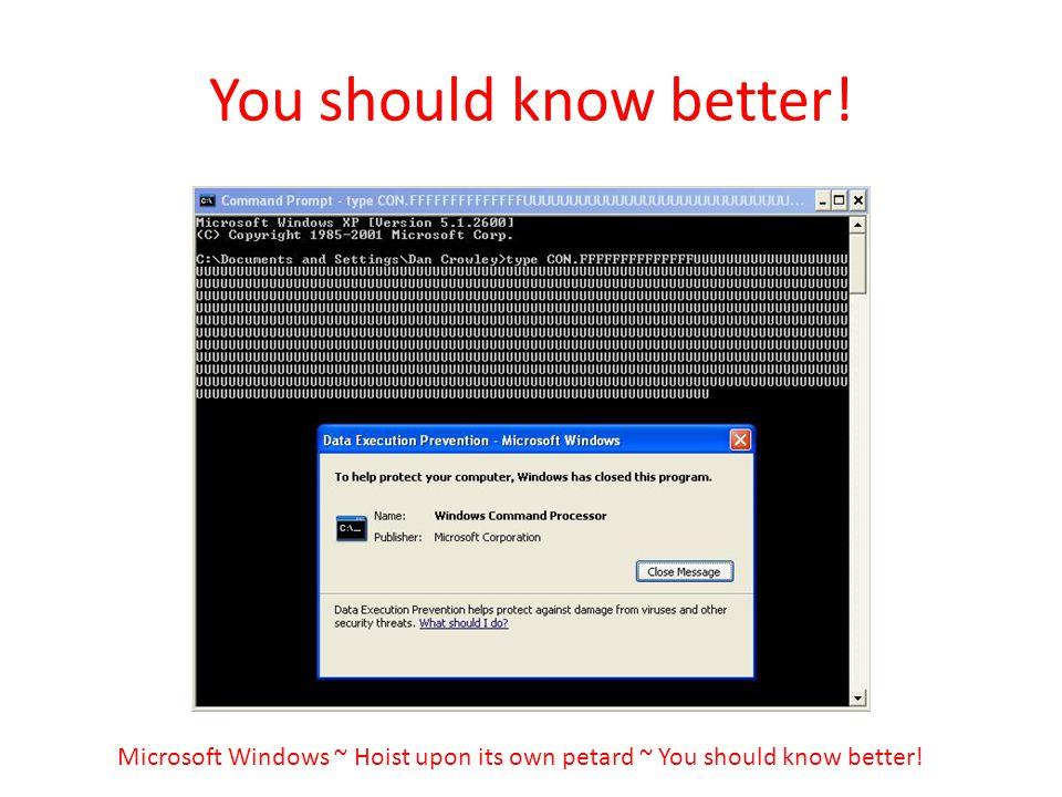 You should know better! Microsoft Windows ~ Hoist upon its own petard ~ You should know better!