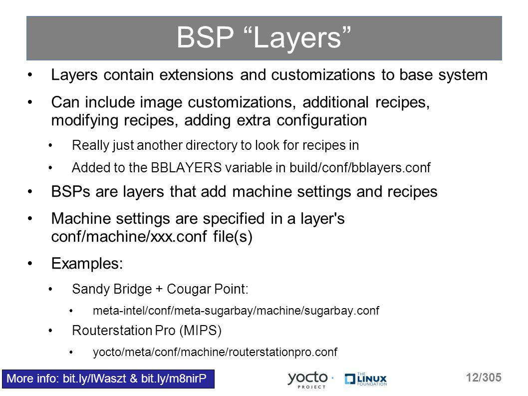 BSP Layers Layers contain extensions and customizations to base system Can include image customizations, additional recipes, modifying recipes, adding extra configuration Really just another directory to look for recipes in Added to the BBLAYERS variable in build/conf/bblayers.conf BSPs are layers that add machine settings and recipes Machine settings are specified in a layer s conf/machine/xxx.conf file(s) Examples: Sandy Bridge + Cougar Point: meta-intel/conf/meta-sugarbay/machine/sugarbay.conf Routerstation Pro (MIPS) yocto/meta/conf/machine/routerstationpro.conf More info: bit.ly/lWaszt & bit.ly/m8nirP 12/305