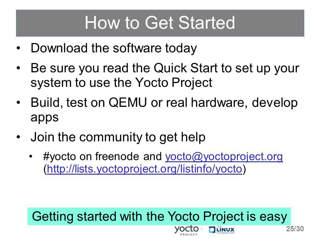 How to Get Started Download the software today Be sure you read the Quick Start to set up your system to use the Yocto Project Build, test on QEMU or real hardware, develop apps Join the community to get help #yocto on freenode and yocto@yoctoproject.org (http://lists.yoctoproject.org/listinfo/yocto)yocto@yoctoproject.orghttp://lists.yoctoproject.org/listinfo/yocto Getting started with the Yocto Project is easy 25/30
