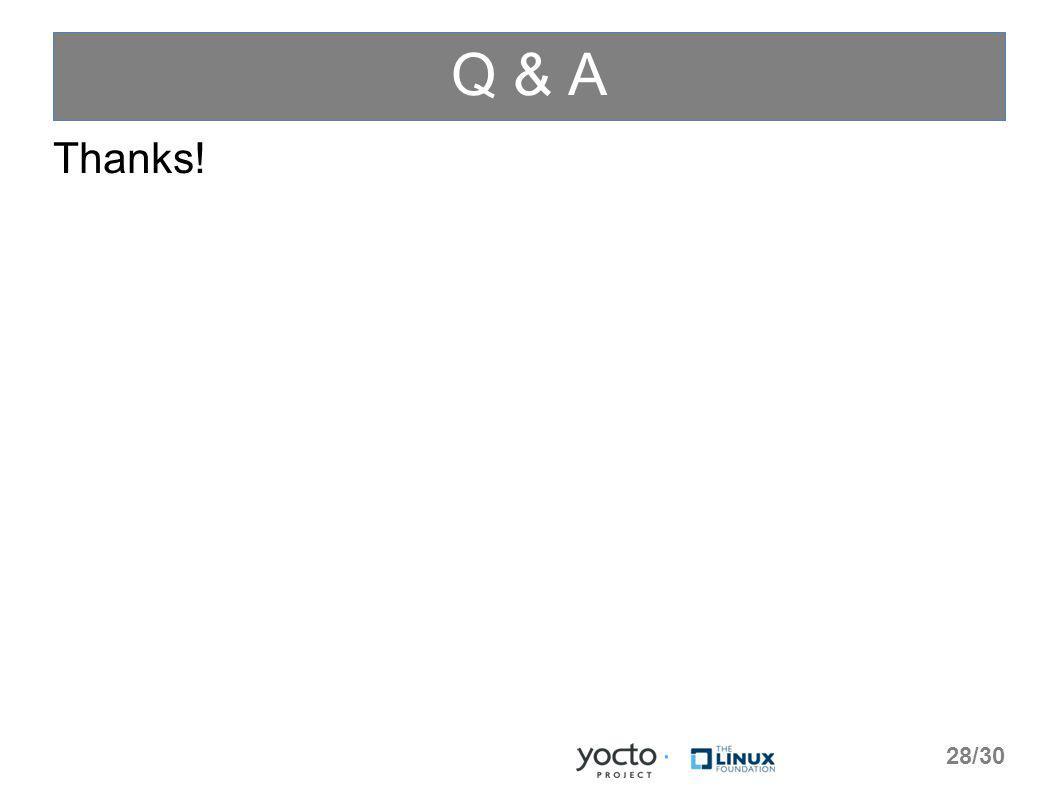 Q & A Thanks! 28/30