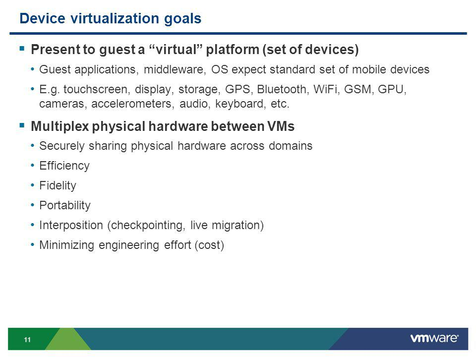 11 Device virtualization goals Present to guest a virtual platform (set of devices) Guest applications, middleware, OS expect standard set of mobile devices E.g.