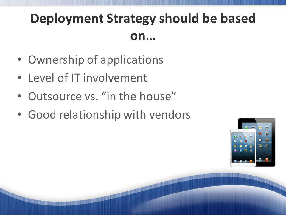Ownership of applications Level of IT involvement Outsource vs.