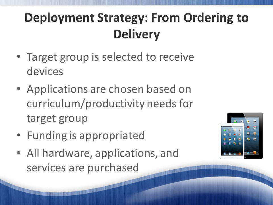 Target group is selected to receive devices Applications are chosen based on curriculum/productivity needs for target group Funding is appropriated All hardware, applications, and services are purchased