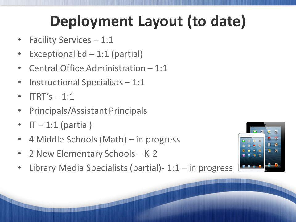 Facility Services – 1:1 Exceptional Ed – 1:1 (partial) Central Office Administration – 1:1 Instructional Specialists – 1:1 ITRTs – 1:1 Principals/Assistant Principals IT – 1:1 (partial) 4 Middle Schools (Math) – in progress 2 New Elementary Schools – K-2 Library Media Specialists (partial)- 1:1 – in progress