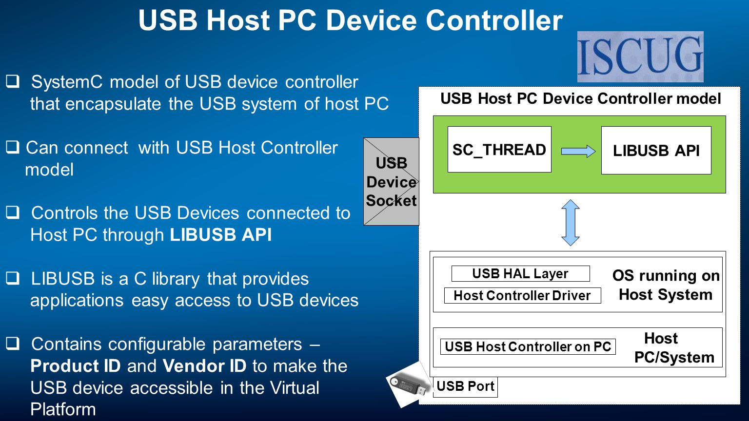 USB Host PC Device Controller model USB Host PC Device Controller SystemC model of USB device controller that encapsulate the USB system of host PC Can connect with USB Host Controller model Controls the USB Devices connected to Host PC through LIBUSB API LIBUSB is a C library that provides applications easy access to USB devices Contains configurable parameters – Product ID and Vendor ID to make the USB device accessible in the Virtual Platform Supports Control, Bulk, Interrupt transfers USB Port Host PC/System USB Host Controller on PC OS running on Host System Host Controller Driver USB HAL Layer USB Device Socket SC_THREAD LIBUSB API