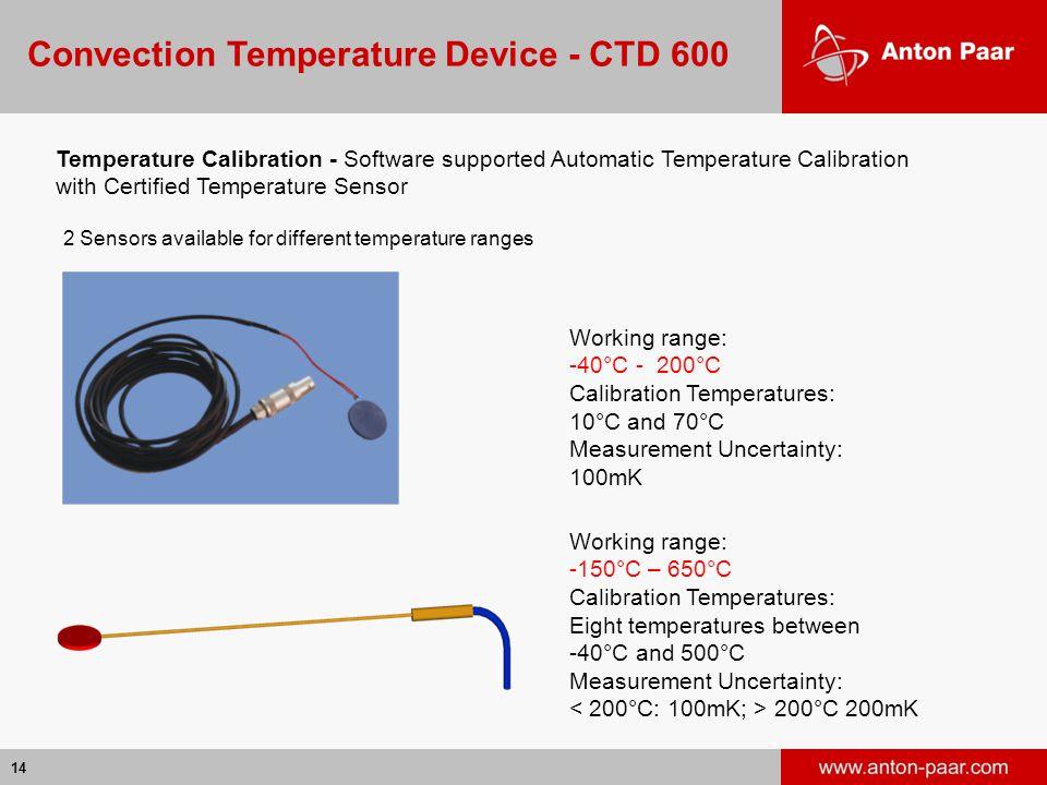 14 Working range: -40°C - 200°C Calibration Temperatures: 10°C and 70°C Measurement Uncertainty: 100mK Working range: -150°C – 650°C Calibration Tempe