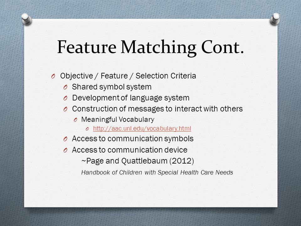 Feature Matching Cont.