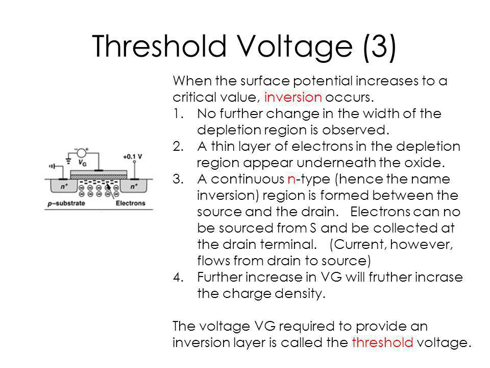 Threshold Voltage (3) When the surface potential increases to a critical value, inversion occurs. 1.No further change in the width of the depletion re