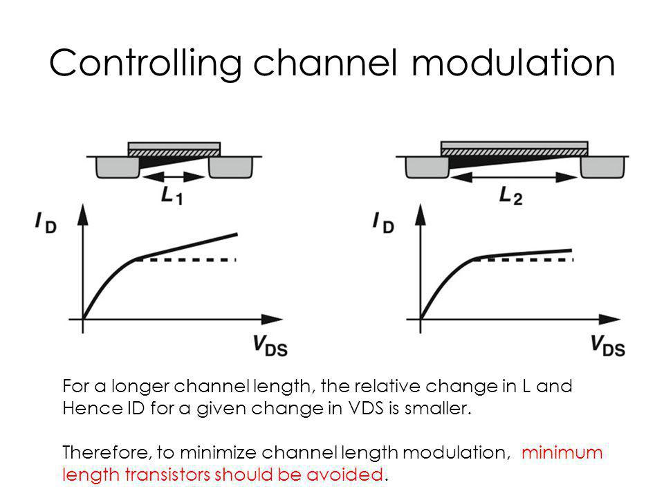Controlling channel modulation For a longer channel length, the relative change in L and Hence ID for a given change in VDS is smaller. Therefore, to