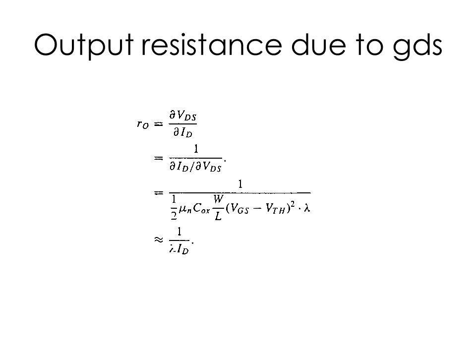Output resistance due to gds