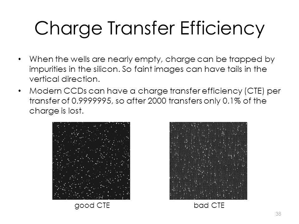 38 Charge Transfer Efficiency When the wells are nearly empty, charge can be trapped by impurities in the silicon. So faint images can have tails in t