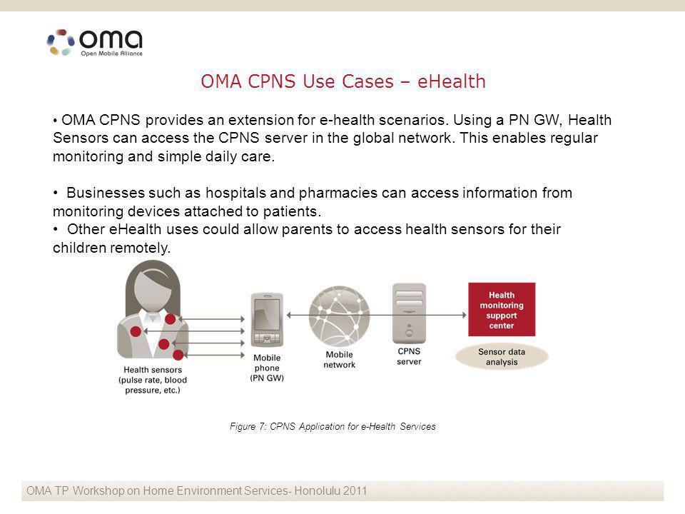 OMA CPNS provides an extension for e-health scenarios.