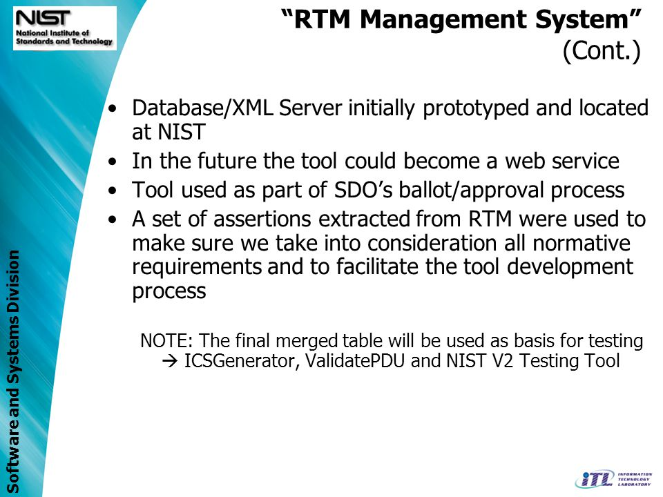 Software and Systems Division RTM Management System Use Case