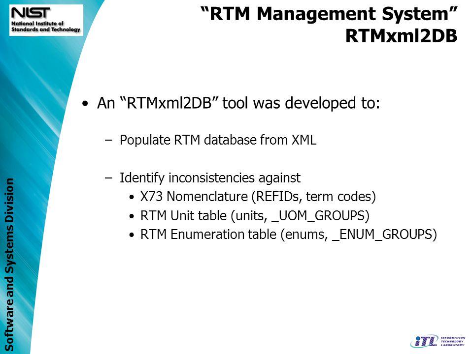 Software and Systems Division RTM Management System RTMxml2DB RTM XML File Validation Report RTM XML Schema RTMxml2DB POJO O/R Mapping Files RTM XML Library x73 Nomenclature DB RTM DB