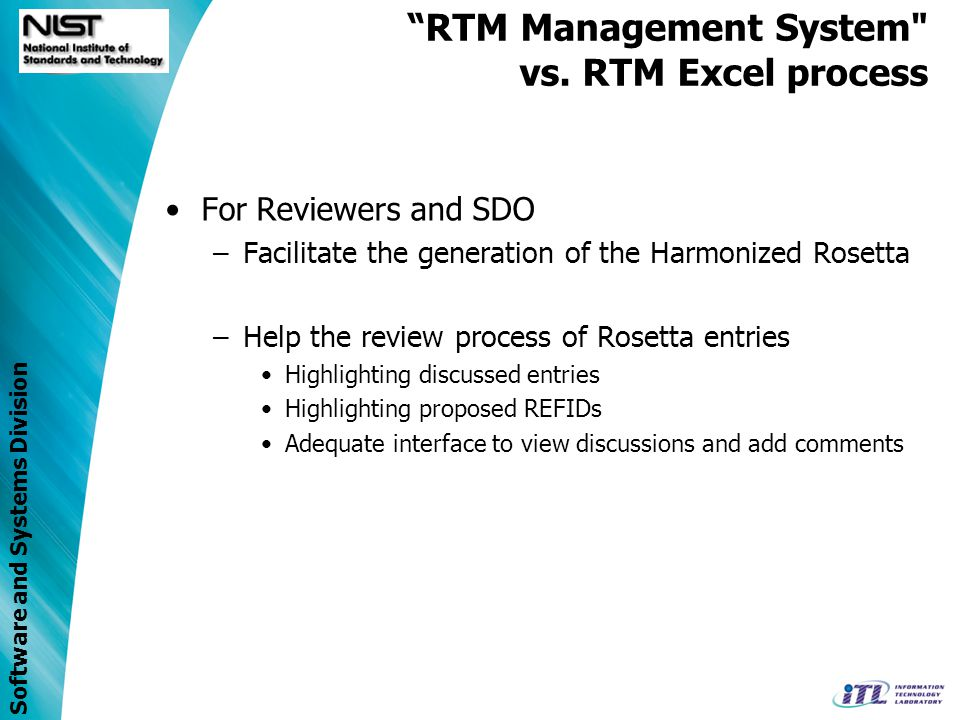 Software and Systems Division RTM Management System vs.