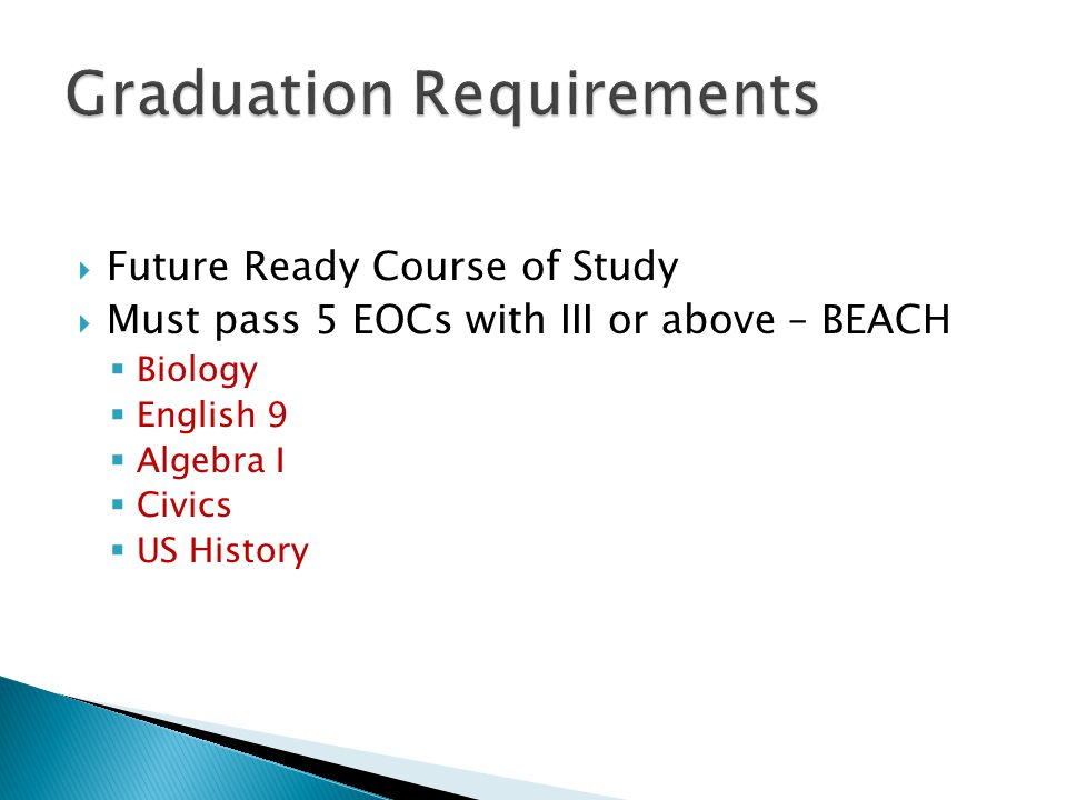 Future Ready Course of Study Must pass 5 EOCs with III or above – BEACH Biology English 9 Algebra I Civics US History